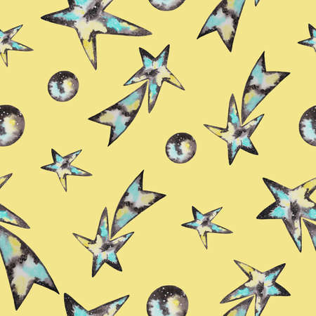 Comets, planets, space stars. Seamless watercolor pattern on yellow background.