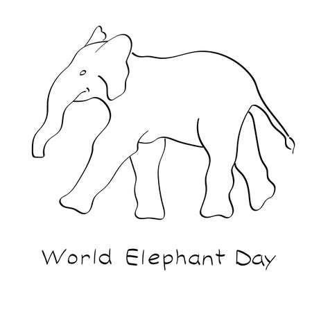 World Elephant Day, vector illustration. Outline and freehand drawing. For websites, cards, posters and other.
