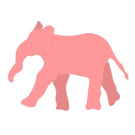 Pink smiling elephant. Vector cartoon illustration, cute print