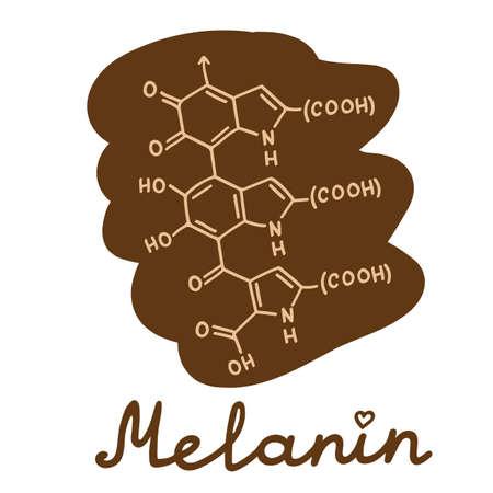 Melanin eumelanin formula simple vector illustration with hand lettering.