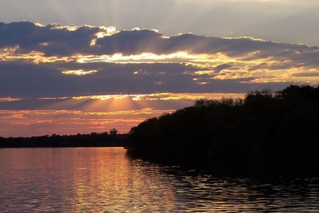 Sun setting on zambezi