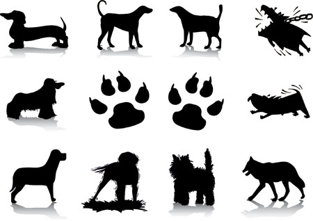 rottweiler: Dog silhouettes Illustration