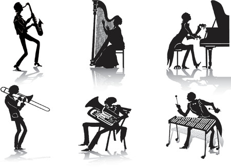 Silhouettes of musicians Stock Vector - 649236