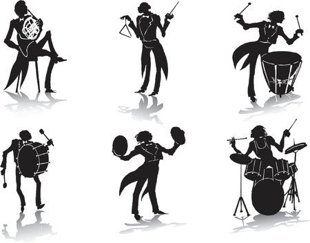 trumpet vector: Silhouettes of musicians