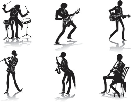 brass instrument: Silhouettes of musicians