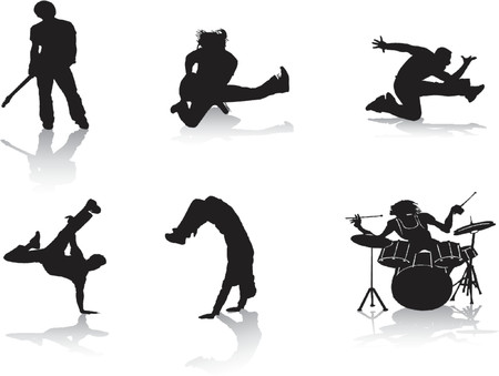 silhouette contour: Silhouettes of people who are into music