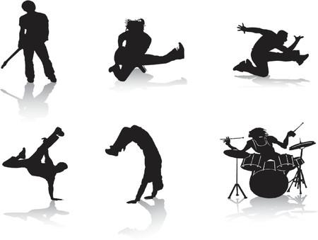 dance hip hop: Siluetas de personas que est�n en la m�sica  Vectores