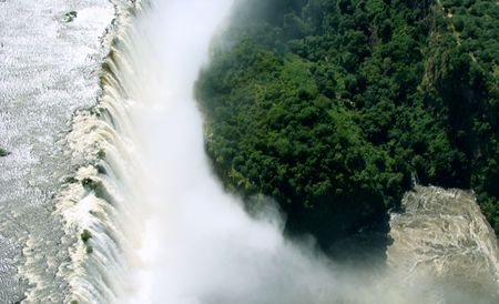 Aerial view of the Victoria Falls in Zimbabwe