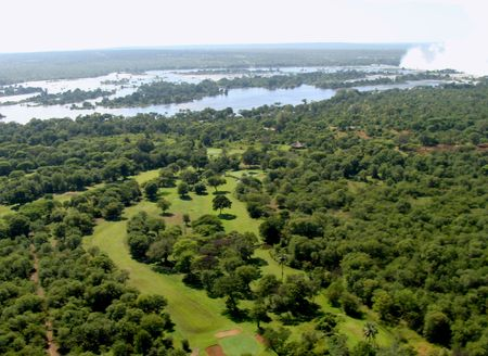 Aerial view Zambezi river Zimbabwe Stock Photo