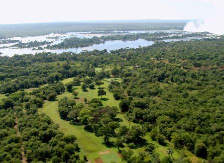zimbabwe: Vista a�rea del r�o Zambezi Zimbabue