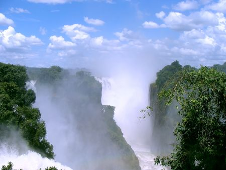 Victoria falls from Zimbabwe side Stock Photo