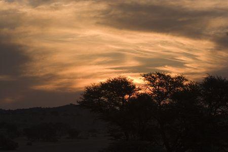 Sun setting in Kgalagadi Transfrontier Park