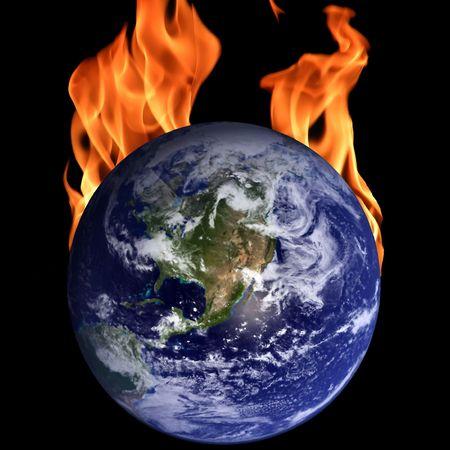 Burning globe against a black background