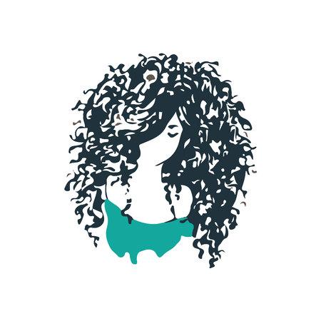 아름다운 곱슬 머리 소녀 로고. 미용실 또는 헤어 제품 로고 디자인