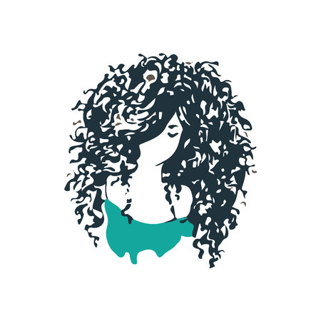Beautiful curly hair girl logo. Beauty salon or hair product logo design