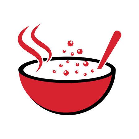 Vector illustratie van logo voor de thema soepen. Stock Illustratie