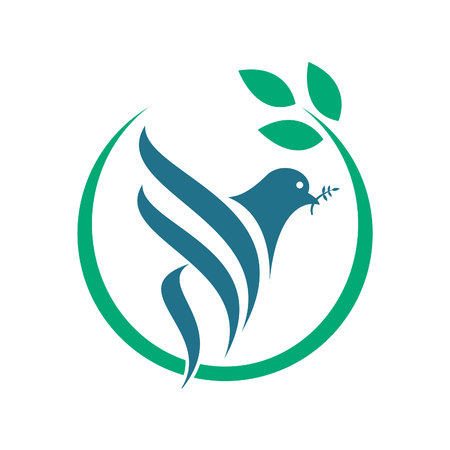 Pigeon Isolated Logo. Peace Symbol. White Flying Bird Emblem.