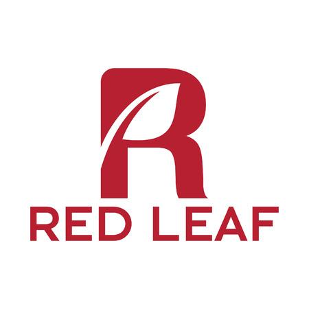 Red Leaf Logo. Simple letter R with Leaf.