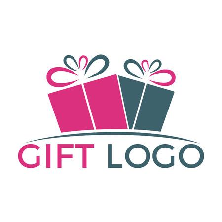 Diseño de logotipo de vector de regalo. Ilustración de caja de regalo presente, saludo, sorpresa.