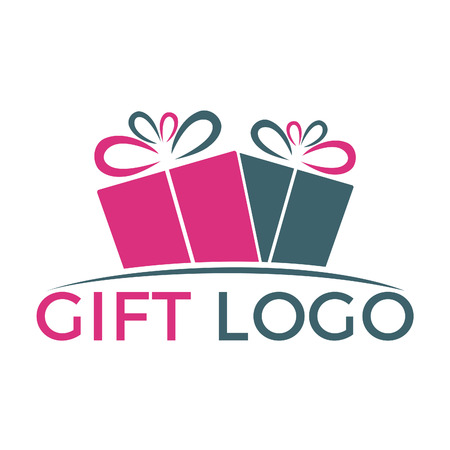 Gift vector logo design. illustration of gift box present, greeting, surprise.
