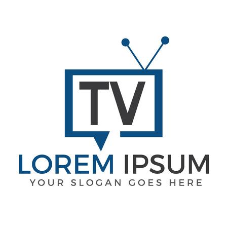 Letter TV logo design. TV media logo design concept template.