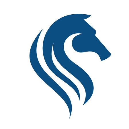 Logo de tête de cheval. Équipe sportive ou mascotte du club.