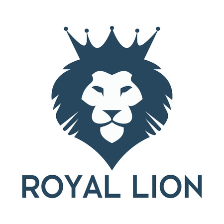 Lion head with crown vector logo design. Lion business, sports and education logo design.