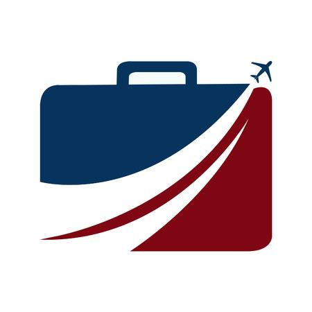 Suitcase and aeroplane travel vector logo design.
