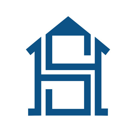A Smart home with SH letter concept logo. Real estate agency or home construct vector logo design. Illustration