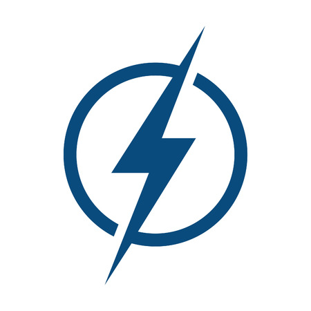 Circle Lightning bolt  logo design. Illustration