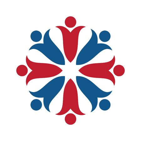 People flower vector logo design. People group logo sign. Social media logo sign.