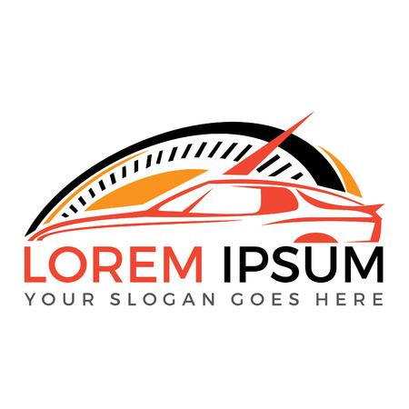 Modern sports car vector logo design. Sports car and car racing logo design template. Illusztráció