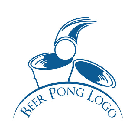 Beer Pong Party vector logo design. Beer ping pong sport and championship logo design. Illustration