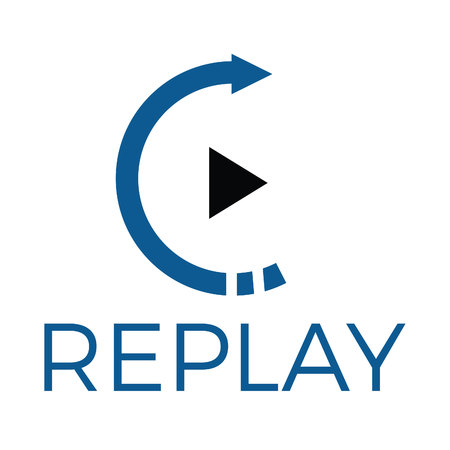 Replay audio and video vector logo design. Music and entertainment logo. Illustration