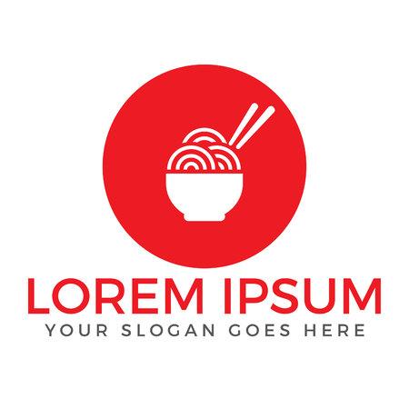 Noodle restaurant and food logo vector design. Asian food and restaurant vector logo design template.