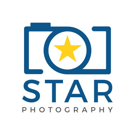 Star camera logo icon template. Photographer logo and Objective lens symbol.