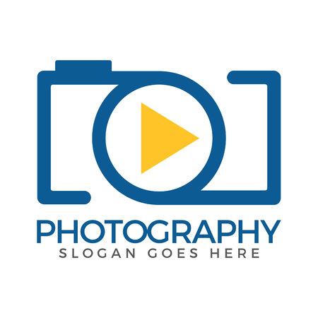 Camera vector logo design template. Photographer logo and Objective lens symbol.