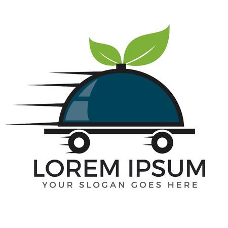Levering van voedsel en online voedsel vector logo ontwerp.