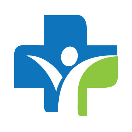 Medical Cross and Human character logo design. Logo design template for clinic, hospital, medical center.
