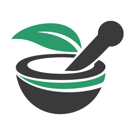 Pharmacy medical logo design. Natural mortar and pestle logo template design Banco de Imagens - 92413171