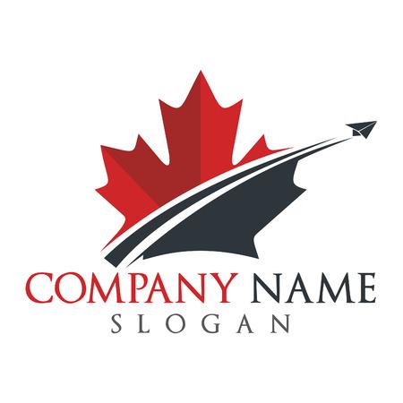 Design de logotipo de viagens do Canadá. Design de logotipo de vetor de folha de plátano.