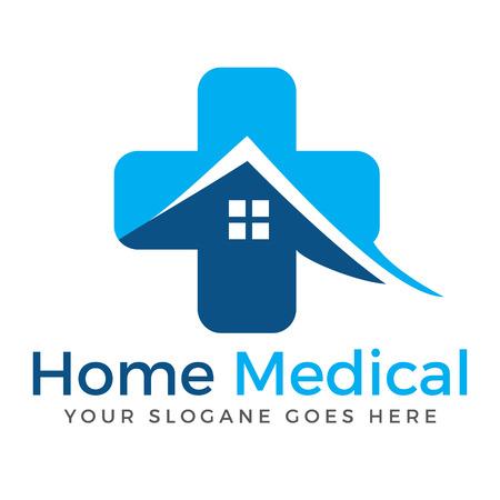 Huis en medisch kruis vector logo ontwerp. Logo ontwerp verpleeghuis. Home Medical symbool.