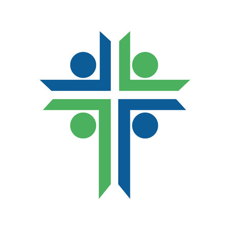 People church  logo design. Human character health care and wellness logo design Stock Illustratie