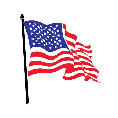 Waving American flag logo design. USA patriot tech  logotype. Moving digital line symbol