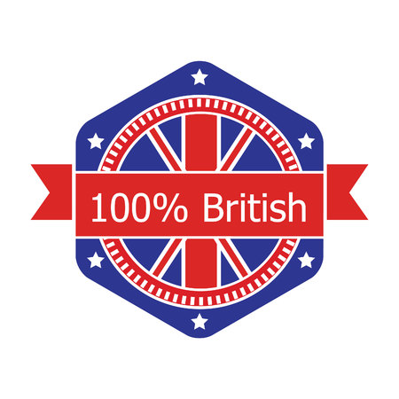Britian flag badge. Vector illustration.