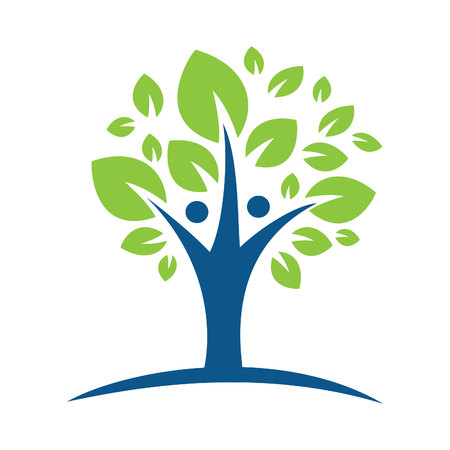 Human character with green tree logo. Human character health care and wellness logo design.