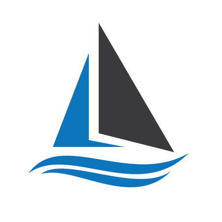 Sailing ship  logo design. Yacht logo. Logo for a travel agency, for a yacht club, for pleasure boat, for water sport