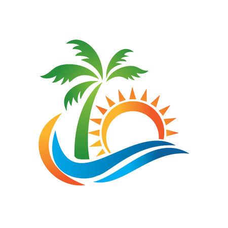 Logotipo para la agencia de viajes tropical resort beach hotel spa. Símbolo de vacaciones de verano. Logotipo de la agencia de viajes aislado sobre fondo blanco. Un símbolo de vacaciones, viajes y recreación en países cálidos.