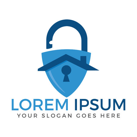Secure home logo. Padlock and home icon design. Shield, guard, protection, safe and security logo for your business. Vector Illustration.