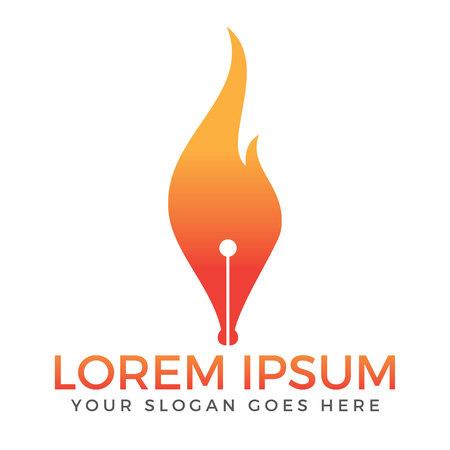 Vuur en penpunt vector logo ontwerp. Educatief instituut en logo van het publicatiehuis. Stock Illustratie